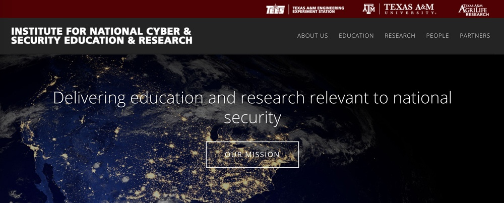 Screenshot of The Institute for National Cyber & Security Education & Research showing unit name in text
