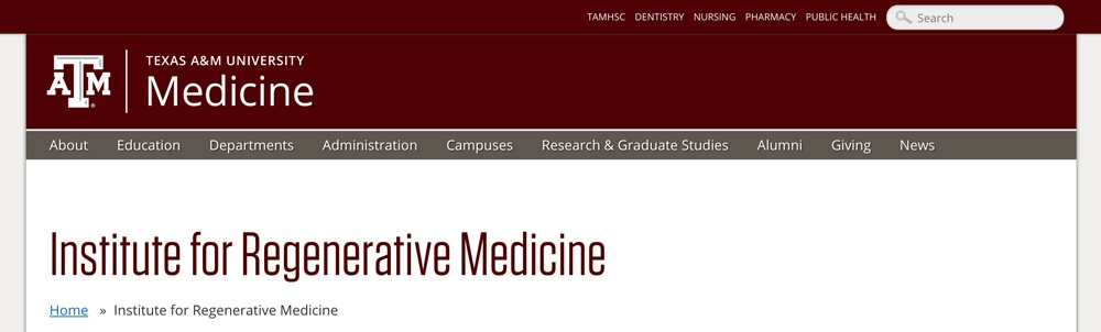 Screenshot of the Institute for Regenerative Medicine website showing unit name in text