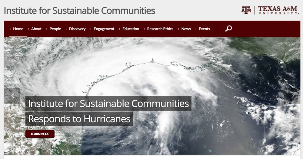 Screenshot of the Institute for Sustainable Communities showing unit name in text