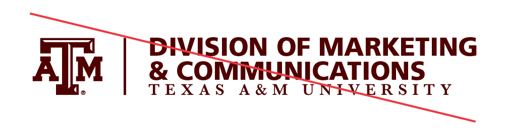 Example of old version of lockup: Texas A&M University Division of Marketing and Communications