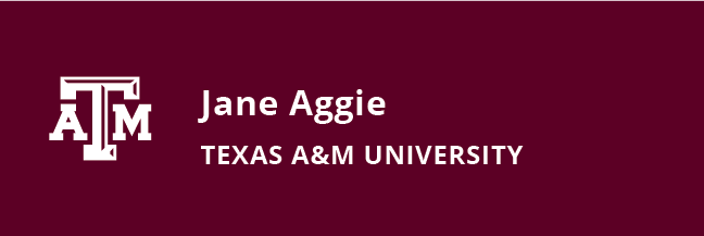 White engraving nametag template with Texas A&M logo, person's name, and university affiliation