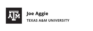 Black engraving nametag template with Texas A&M logo, person's name, and university affiliation