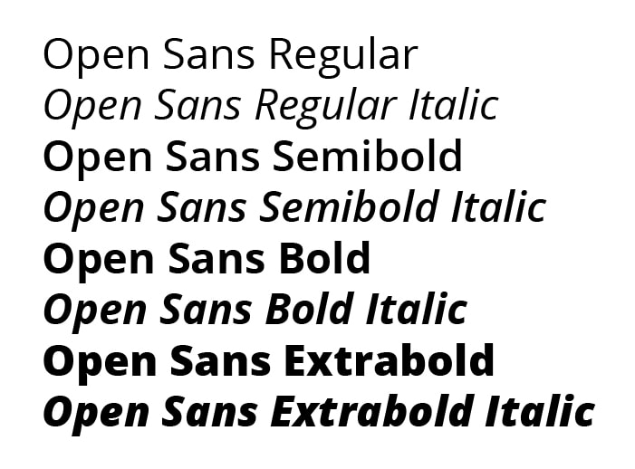 Example text with various weights in Open Sans