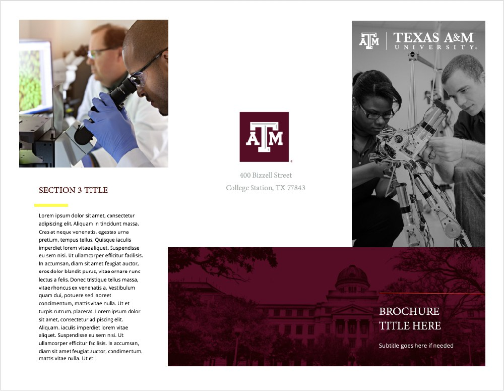 print templates university brand guide texas a m university. Black Bedroom Furniture Sets. Home Design Ideas
