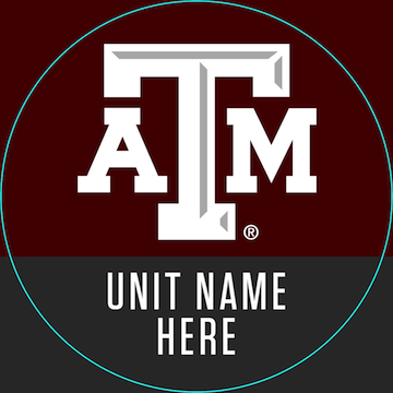 Example profile picture template with A&M logo above unit name