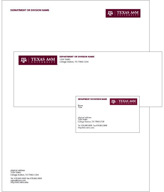 Pictures of example stationery with TAMU letterhead, logo, and address