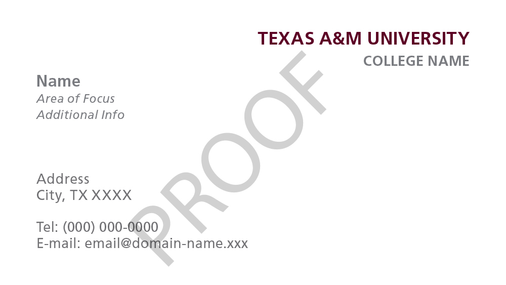 Stationery templates university brand guide texas am university example business card template student business card template friedricerecipe Images