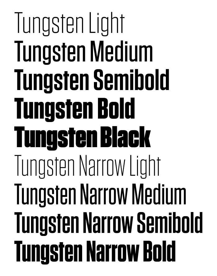 Example text with various weights in Tungsten
