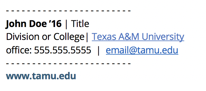 Example of a correct university email signature that uses only blue for the link color and no images