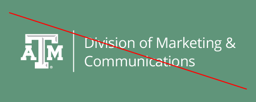 Crossed out example of a unit identity lockup using the White TAM Logo on a green background